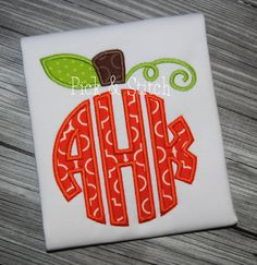 Monogram Pumpkin Topper Applique Design Pick and Stitch Monogram Shirts, Embroidery Monogram, Embroidery Applique, Machine Embroidery Designs, Embroidery Patterns, Embroidery Machines, Machine Applique, Vinyl Shirts, Embroidery Fonts