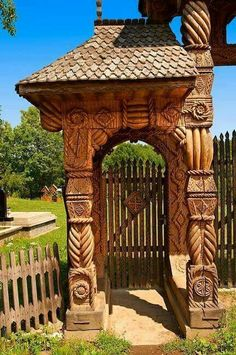 Traditional carved wooden Maramures folk art church gate at Breb, Nr Sighlet, Maramures, Transylvania ROUMANIE Bulgaria, Wonderful Places, Beautiful Places, Travel Around The World, Around The Worlds, Transylvania Romania, Visit Romania, Romania Travel, Gates
