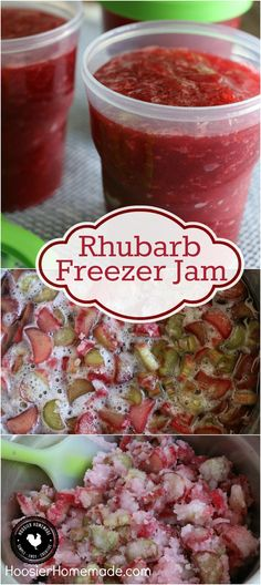 You are only 3 ingredients away from the BEST homemade jam you will ever make! This Rhubarb Freezer Jam goes together in a snap and is SO delicious! Click on the photo to grab the recipe!(Homemade Butter 3 Ingredients) Vegetables, Pinwheels, New Mexican, Donut Holes, Healthy Pumpkin, Pumpkin Spice, Donuts, Spices, Salsa