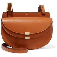Chloé Georgia mini leather shoulder bag (€835) ❤ liked on Polyvore featuring bags, handbags, shoulder bags, light brown, brown crossbody, crossbody cell phone purse, crossbody purse, mini crossbody purse and chloe crossbody