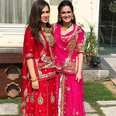 Image may contain: 2 people Indian Bride Dresses, Indian Wedding Gowns, Indian Bridal Outfits, Pakistani Dresses, Rajasthani Bride, Rajasthani Dress, Designer Bridal Lehenga, Bridal Lehenga Choli, Saree