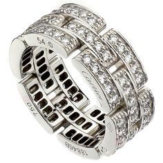 CARTIER Maillon Panthere Diamond White Gold 3-Row Ring