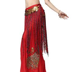 Performance Dancewear Chiffon with Long Tassels Belly Dance Belt For Ladies – USD $ 19.99