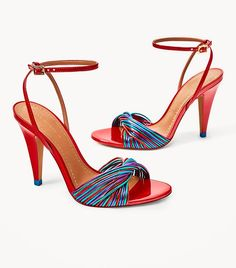 red strappy sandal heels