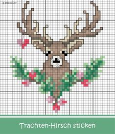 Trachten-Hirsch embroider for Oktoberfest - Discover numerous free charts for embroidery! - Embroider beautiful deer motif for a bag for the Oktoberfest stitch / - Xmas Cross Stitch, Cross Stitch Cards, Cross Stitch Animals, Cross Stitching, Cross Stitch Embroidery, Hand Embroidery, Cross Stitch Freebies, Christmas Embroidery Patterns, Christmas Cross Stitch Patterns