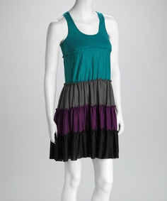 Take a look at this Just Love Teal & Black Color Block Racerback Dress by Just Love on #zulily today!