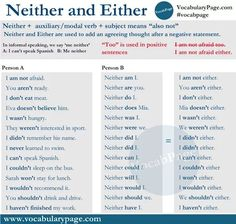 NEITHER & EITHER #learnenglish https://plus.google.com/+AntriPartominjkosa/posts/3Z4AFU9eREY