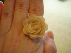 Creme Felt Flower Ring on Adjustable Ring Base by CloudNineDesignz, $10.00