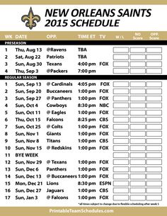 New Orleans Saints Nfl Schedule Printable - Clipart Library
