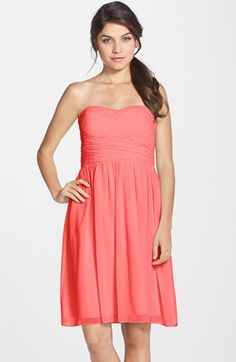 Donna Morgan 'Sarah' Strapless Ruched Chiffon Dress available at #Nordstrom - except in Peach Fuzz