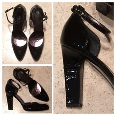 Max Mara SS 2014 Collection: Max Mara black patent leather sling back heels.  Price on request.