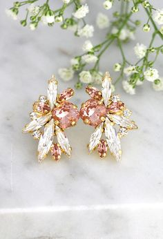 Blush Earrings Bridal Blush Earrings Morganite Bridal  Click here to shop >> http://etsy.me/2gYMNax