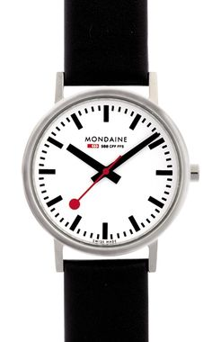 Classic A660.30314.11SBB In 1986 Mondaine converted the clock's legendary face and bold hands into wristwatch form. This one-of-a-kind, easily readable watch has become one of the true design classics recognized the world over. The straightforward and unadorned shape of the case and sapphire crystal make this watch a true time icon.
