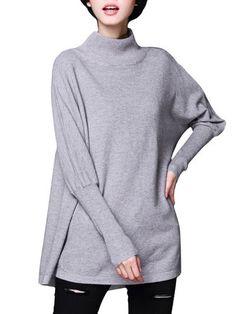 Women High Collar Side Zipper Pure Color Long Sleeve Loose Sweater