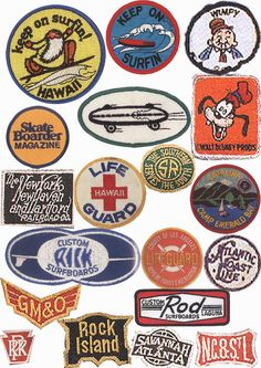 Patch collection, reminds me of the cool pins that Homage sells. Badge Design, Logo Design, Logos Retro, Vintage Patches, Emblem, Patch Design, Pin And Patches, Stickers, Up Girl