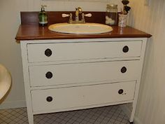 from dresser to bathroom vanity.  Years ago I helped a friend of mine do this project for his master bathroom.  Works great!