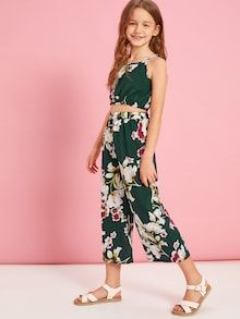 Girls Floral Print Cami and Wide Leg Trousers Set Girls Summer Outfits, Girly Outfits, Cute Outfits, Girls Dresses Online, Dresses Kids Girl, Preteen Girls Fashion, Curvy Girl Fashion, Frock For Teens, Ashley Clothes