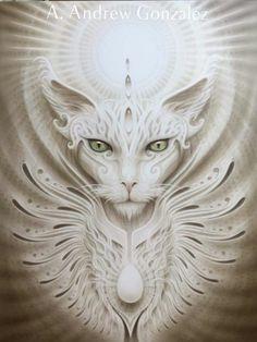The Mystic Cat from A. Andrew Gonzalez Art Shop - The Mystic Cat from A. Art Visionnaire, Egyptian Cats, Gatos Cats, Photo Chat, Visionary Art, Cat Drawing, Crazy Cats, Cat Art, Mystic