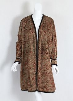 "Evening Coat, Fortuny: ca. 1920, stenciled velvet.    Label: ""Mariano Fortuny/Venise."""