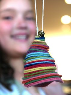 Felt circles ornament easy enough for children to make.