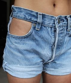 Cut Pocket High Waisted Denim Shorts