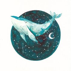 This is a fine art print made from my original watercolor painting titled Cosmic Whale. - Why Whales? Because whales are a totemic animal, they have many symbolisms such as creativity, emotional depth, and inner wisdom, they guide us in our dreams. Whales move through deep Whale Drawing, Whale Painting, Watercolor Whale, Galaxy Painting, Watercolor Paintings, Watercolor Projects, Cosmic Art, Deco Nature, Arte Sketchbook