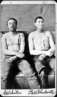 Natural born killers- These men,Clell Miller and Bill Chadwell, were with the James Younger gang in Northfield, MN. These two were killed, the Youngers badly wounded and the James boys made a clean escape.