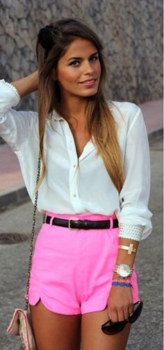 Pink Shorts | high waist | white blouse | casual dressy