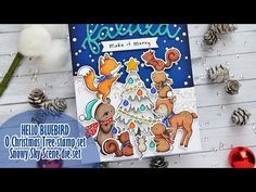 Christmas Words, Christmas Tree, Spectrum Noir Markers, White Gel Pen, Animal Cards, Card Tutorials, Hobbies And Crafts, Blue Bird, Craft Projects