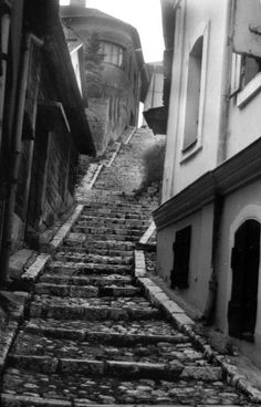 A steep, cobblestoned street in Sarajevo, Bosnia and Herzegovina.                                                                                                 Photo by ahmetgormez.devia...