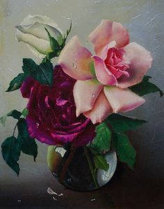 Still Life of Roses by Russian Painter Lev Tchistovsky 1902 -1969 http://www.liveauctioneers.com/item/8244109