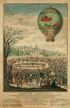 Hot air balloon, 1784.