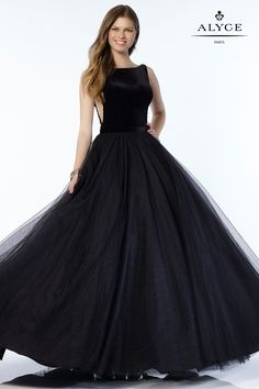 Alyce 6792 Velvet Tulle A-Line Ball Gown with Sheer Sides