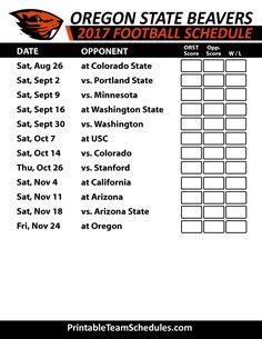 2017 Oregon State Beavers Football Schedule