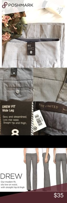 Drew fit Wide leg trousers This is a great pair NWT trousers from The Limited. Style is Drew fit, wide leg. Super cute gray and white striped pattern.ill get exact measurements up soon! Ty xo         ❤️BUNDLE & SAVE 20% ❗️ 🌟Black Friday Sale going on now🌟 The Limited Pants Wide Leg