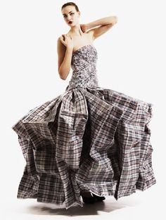 Sustainable Fashion Design - dress made from repurposed laundry bags - recycled fashion; alternative materials; wearable art // Gary Harvey