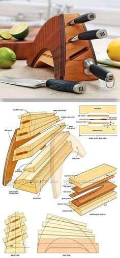 DIY Knife Block - Woodworking Plans and Projects | WoodArchivist.com #woodworkingplans #WoodworkingPlansWorkbench