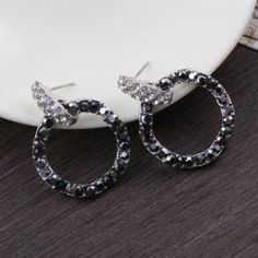$4.03 Pair Of Brilliant Rhinestone Embellished Hollow Ring Earrings For Women