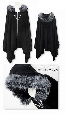 Harajuku Gothic Lolita Vampire Cloak Coat Hoodie Punk Jacket Shawl Cool Black #Q