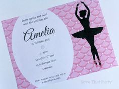 Ballerina Ballet Party Printable Invitation: Love That Party. www.lovethatparty.com.au