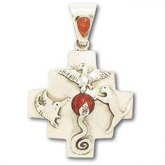 Peruvian Silver and Spondylus Chakana Four Direction Pendant