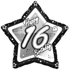 16 jaar folieballon zwart/zilver. Deze stervormige 16 jaar folie ballon in de kleur zwart met zilver is ca. 45 cm. Op de ballon staat de tekst Happy 16th Birthday.