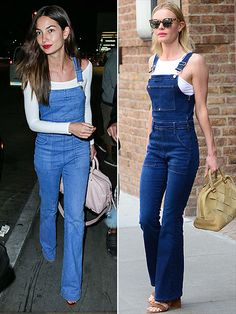 Obsessed or Hot Mess: Vote on These Daring Looks | FLARED OVERALLS | Whoa, hold up there, street style stars. We are only just getting used to the fact that we have to wear flares again. Now you're saying we have to get them in overalls too? We can't. But Lily Alridge and Kate Bosworth can.
