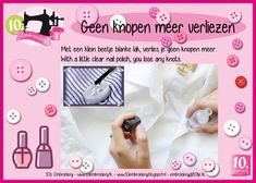 Welkom bij 10's Embroidery Clear Nail Polish, Clear Nails, Techniques Couture, Sewing Techniques, Buttons, Polish, Light Nails, Pale Nails, Quilling Techniques