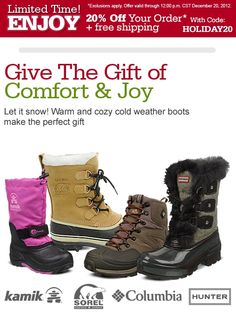 Giftable Cold Weather Boots for the Family!