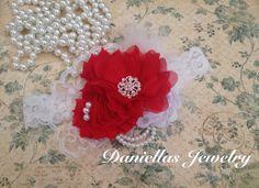 Vintage inspirado en rojo y marfil, niño venda venda /baby niña diadema /Photo prop diadema diadema Navidad