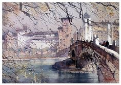 Thomas W Schaller ponte fabricius - rome by Thomas  W. Schaller Watercolor ~ 15 inches x 22 inches