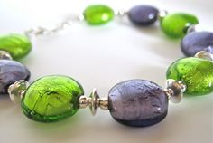 Beaded Glass Bracelet Lime Green and Purple by NewToYouJewelry, $45.00