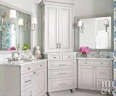 blue white bathroom makeover after vanity sink mirrors storage Bathroom Flooring, Bathroom Furniture, Bathroom Interior, Furniture Storage, Furniture Ideas, Bath Trends, Bathroom Trends, Bathroom Ideas, Bathroom Colors