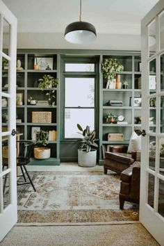 16 Easy DIY Paint Only Makeovers - House On Longwood Lane - - Have an extra gallon of paint in the garage or some left over paint from another project? Here are 10 easy DIY paint only makeovers to do at home. Home Office Design, Home Interior Design, House Design, Simple Interior, Diy Interior, Contemporary Interior, Green Shelves, Office Makeover, Home And Deco